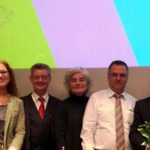 V. l. André Stinka (Generalsekretär NRW-SPD), Jutta Hecken-Defeld (Delegierte), Norbert Römer (Vors. SPD-Landtagsfraktion), Petra Crone (MdB), Wolfgang Langenohl (Deleg.), Minister Mike Groschek, Birgit Sippel (MdEP)