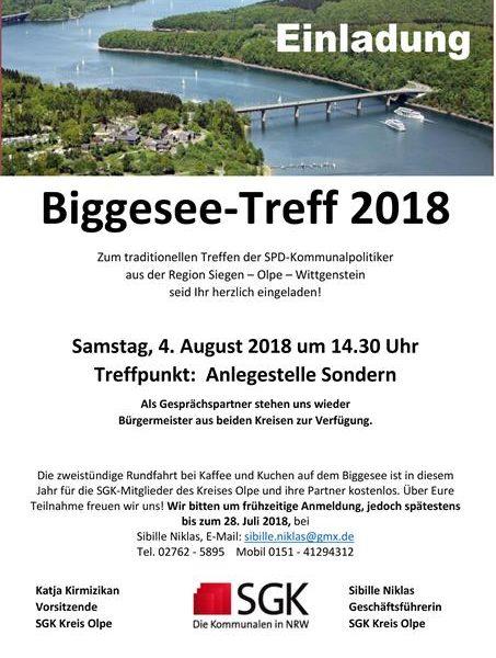 Einladung zum Biggesee-Treff der SGK